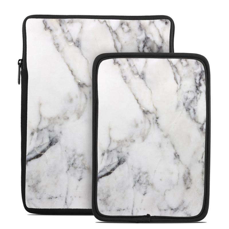 Tablet Sleeve design of White, Geological phenomenon, Marble, Black-and-white, Freezing with white, black, gray colors
