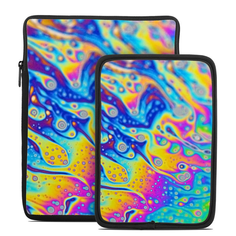 Tablet Sleeve design of Psychedelic art, Blue, Pattern, Art, Visual arts, Water, Organism, Colorfulness, Design, Textile with gray, blue, orange, purple, green colors