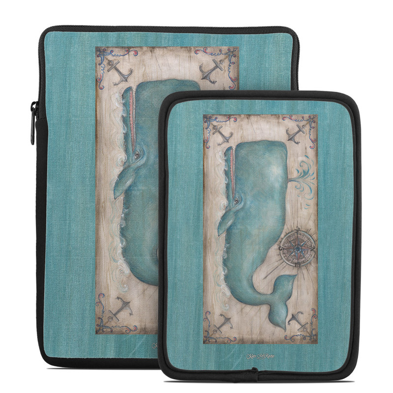 Tablet Sleeve design of Turquoise, Teal, Whale, Art, Marine mammal, Rectangle, Illustration, Cetacea, Mermaid, Painting with gray, blue colors